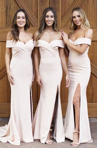 Off-the-shoulder Sexy Elegant Trumpt Bridesmaid Dress With Front Split And Cross Criss