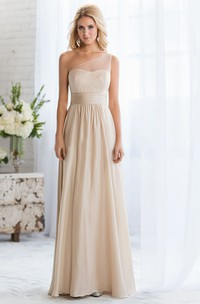 One-Shoulder A-Line Long Bridesmaid Dress With Beadings And Illusion Style