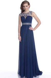 A-Line Chiffon Sleeveless Prom Dress Featuring Keyhole Back And Jeweled Waist