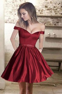 A-line Short Mini Sleeveless Off-the-shoulder Beading Pockets Ruching Satin Homecoming Dress