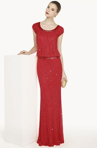 Scoop Neck Cap Sleeve Sheath Beading Prom Dress With Sequins And Cowl Back