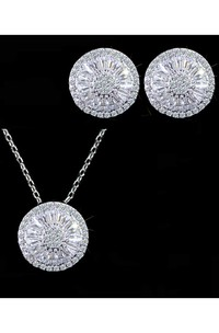 Elegant Circular Shaped Rhinestone Necklace and Earrings Jewelry Set