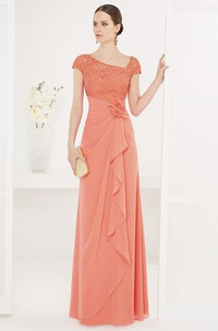 Asymmetric Neck Lace Cap-sleeve Chiffon Long Dress With Side Drape And Flower