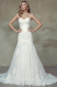 A-Line Sweetheart Lace Wedding Dress With Lace Up