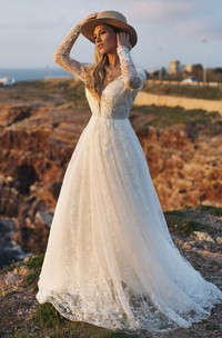 A-line Plunging Deep V-back Ethereal Illusion Long Sleeve Lace Wedding Dress