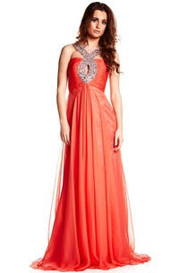 Strapped Beaded Sleeveless Chiffon Prom Dress With Ruching And Beading