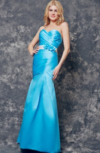 Sweetheart Ruched Long Satin Dress With Floral Sash