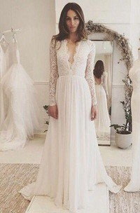 A Line V-neck Chiffon Lace Backless Wedding Gown