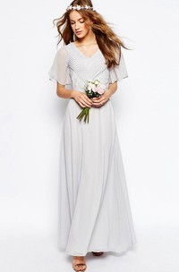 Ankle-Length Ruched V-Neck Poet Sleeve Chiffon Bridesmaid Dress With Appliques