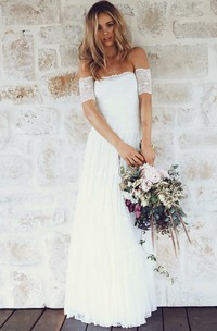 A Line Off-the-shoulder Lace Zipper Wedding Dress