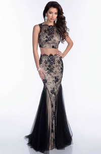 Sleeveless Crop Top Mermaid Tulle Prom Dress With Lace Appliques And Sequins