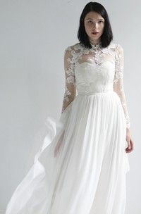 Long Sleeve Illusion Lace And Chiffon High Neck Wedding Gown