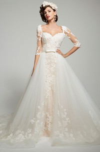 Ball Gown 3-4-Sleeve Square-Neck Tulle&Lace Wedding Dress With Keyhole