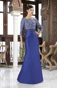 Floor-Length 3-4 Sleeve Square Neck Appliqued Satin Mother Of The Bride Dress