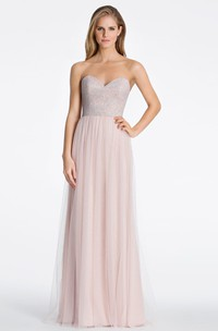 Beaded Sleeveless Sweetheart Tulle Bridesmaid Dress With Low-V Back