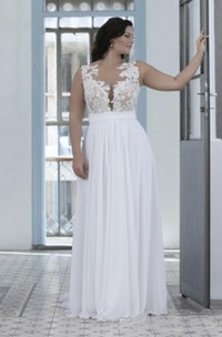 A Line Jewel Chiffon Lace Zipper Low-V Back Wedding Gown