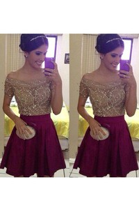 A-line Short Mini Short Sleeve Off-the-shoulder Beading Pleats Satin Homecoming Dress