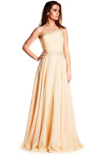 Maxi One-Shoulder Ruched Sleeveless Chiffon Prom Dress