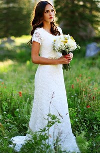 Sheath Jewel Lace Zipper Wedding Dress