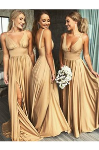 Empire Plunging V-neck Sleeveless Bridesmaid Dress With Front Split And Pleats