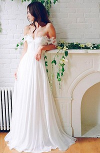A Line Off-the-shoulder Chiffon Lace Zipper Wedding Gown