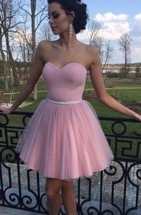 A-line Short Mini Sleeveless Sweetheart Beading Pleats Satin Tulle Homecoming Dress