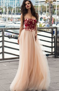 Romantic A Line Strapless Lace Tulle Floor-length Sleeveless Prom Dress