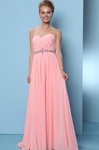 Maxi Ruched Sweetheart Sleeveless Chiffon Bridesmaid Dress
