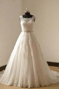 Long A-Line Sleeveless Lace Wedding Dress With Beads Sash and Train