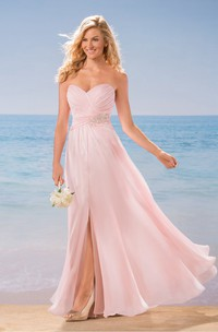 Sweetheart A-Line Chiffon Bridesmaid Dress With Front Slit And Jewels