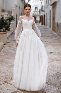 Ethereal Tulle Bateau Neck Illusion Long Sleeve Long Bridal Gown