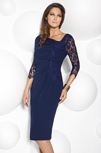 Knee-Length Lace Scoop Neck 3-4 Sleeve Jersey Mother Of The Bride Dress With Beading