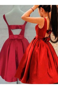 Ball Gown Tea-length Sleeveless Bow Ruching Satin Homecoming Dress