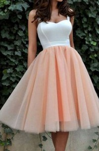 A-line Ball Gown Tea-length Sleeveless Straps Pleats Satin Organza Homecoming Dress
