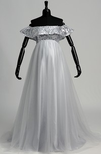 A-line Sweep Brush Train Beading Pleats Tulle Maternity Dress