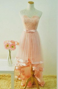 Delicate A-line High-low Sweetheart Tulle&Lace Dress With Bow