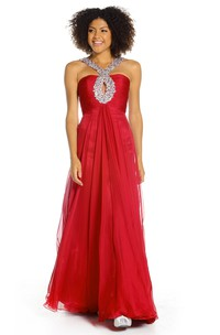 A-Line Floor-Length Beaded Sleeveless Chiffon Prom Dress With Zipper Back And Pleats