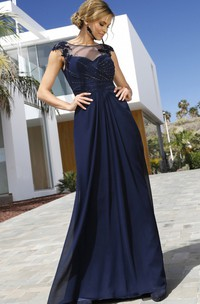Stunning Sheath Bateau Chiffon Floor-length Short Sleeve Evening Dress with Beading