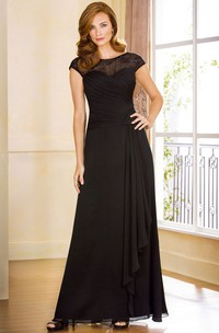 Cap-Sleeved A-Line Mother Of The Bride Dress With Ruffles And Illusion Back