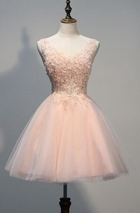 Lovely Short Tulle Homecoming Dresses With Appliques Beads