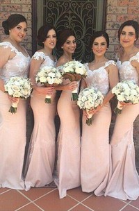 Elegant Off-shoulder Mermaid Bridesmaid Dress Floor-length With Lace Appliques