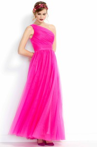 A-Line Floor-Length One-Shoulder Ruched Sleeveless Tulle Bridesmaid Dress