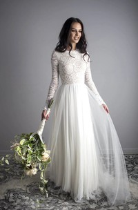 Ethereal Open Back Boho Illusion Lace Long Sleeve Jewel Tulle Dress