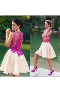 Sleeveless Sheer Chiffon Lace Top Short Formal Prom Party Gowns