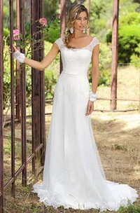 Sheath Cap-Sleeve Scoop-Neck Tulle Wedding Dress With Lace And Sweep Train