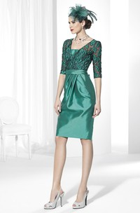 Knee-Length Embroidered Half-Sleeve Satin Prom Dress With Bow