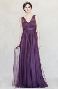 Maxi Ruched V-Neck Empire Sleeveless Tulle Bridesmaid Dress With Straps
