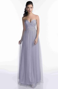 Tulle Sweetheart A-Line Pleated Bridesmaid Dress With Slim Beaded Waistline