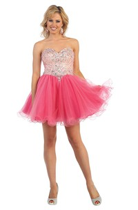 A-Line Short Sweetheart Sleeveless Tulle Backless Dress With Beading And Ruffles