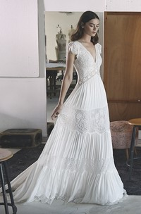 A-line Empire Chiffon Boho V-neck Wedding Gown With Petal Sleeve And Lace Tires
